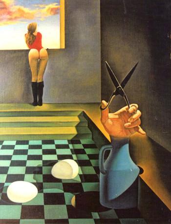 La castración simbólica. Óleo sobre madera. 50X63 cm.